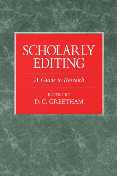 Scholarly Editing Cover